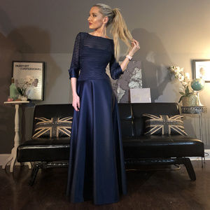 Quarter Sleeve Sheer Stripe Long Flirty Gown Dress